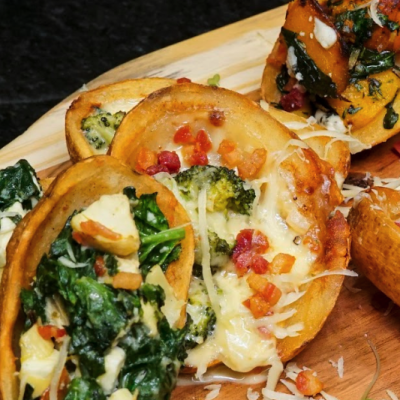 photo of three cheese and bacon potato skins