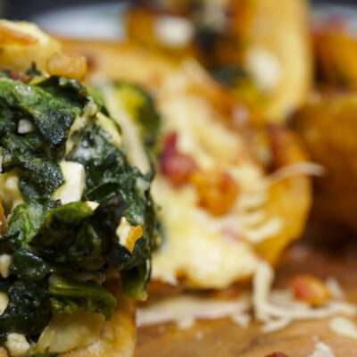 photo of roasted spinach and artichoke potato skins